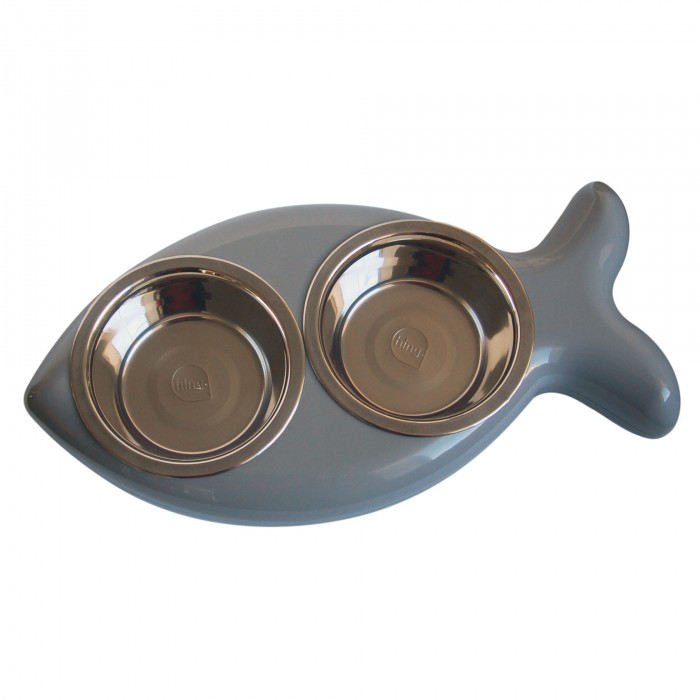 Gamelle, distributeur & fontaine - Gamelle double Fish pour chats