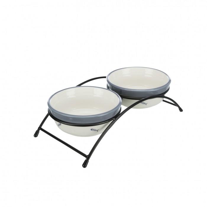Gamelle, distributeur & fontaine - Set de 2 gamelles en céramique pour chats