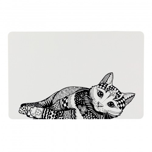 Gamelle, distributeur & fontaine - Set de table Zentangle pour chats
