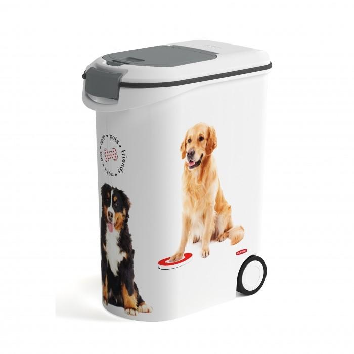 Gamelle et distributeur - Conteneur à croquettes Love Dogs à roulettes  pour chiens