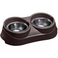 Gamelle et écuelle pour chien - Support double avec gamelles en inox Ferplast