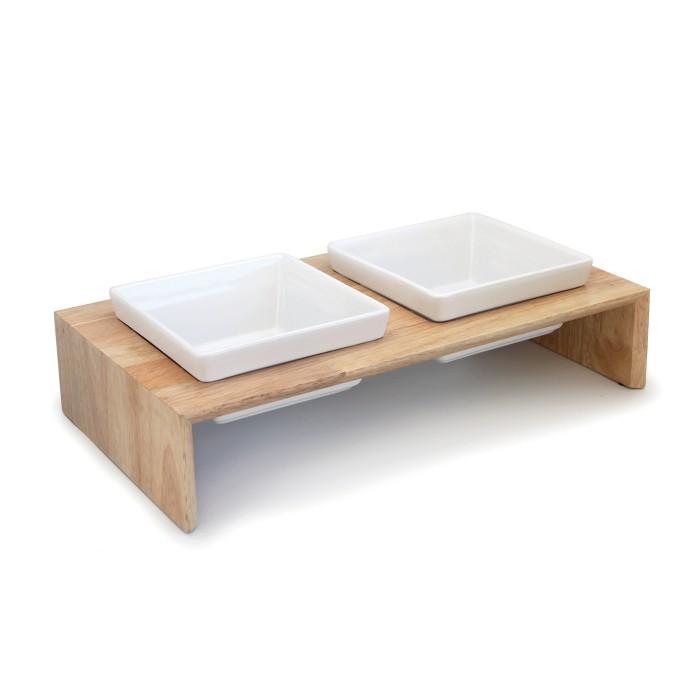 gamelle en bois gourmet dinner double gamelle et cuelle pour chien hamiform wanimo. Black Bedroom Furniture Sets. Home Design Ideas