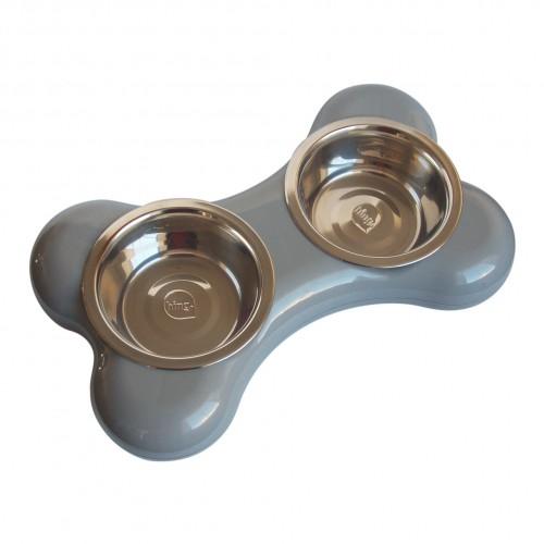 Gamelle et distributeur - Gamelle double Bone pour chiens