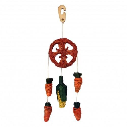 Jouet pour rongeur - Mobile en feuilles de maïs et luffa pour rongeurs