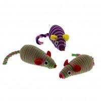 Jouets pour chat - Lot de 3 souris rayées pour chat