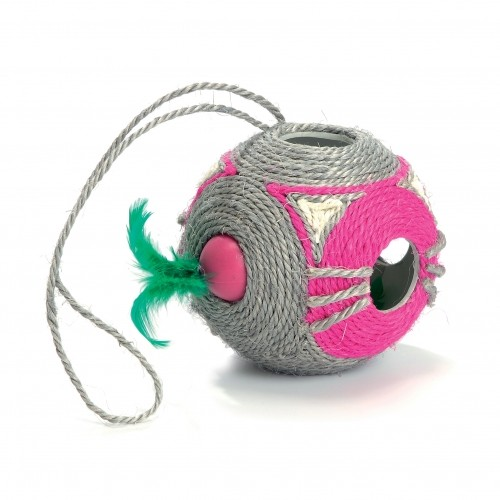 Jouet pour chat - Balle à griffer en sisal avec boule à plumes pour chats