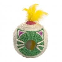 Jouet pour chat - Balle à griffer en sisal avec boule à plumes Bobby