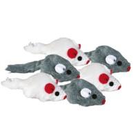 Lot de jouets - Lot de 6 souris en peluche avec herbe à chat Trixie