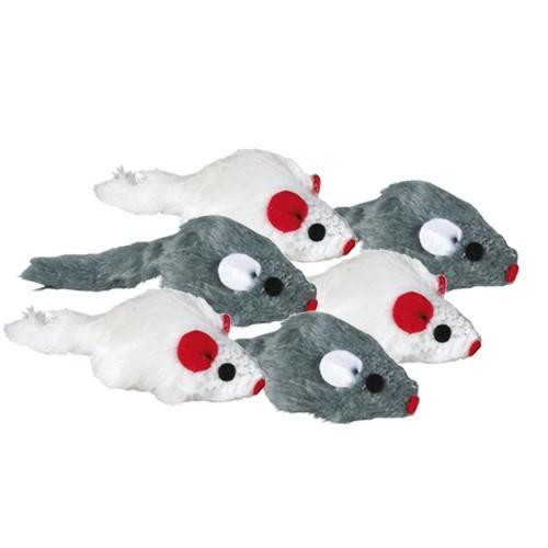 Jouet pour chat - Lot de 6 souris en peluche avec herbe à chat pour chats