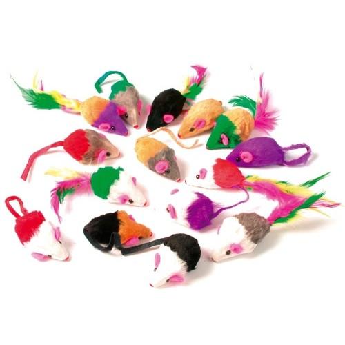 Jouet pour chat - Lot de 24 souris Multicolores pour chats
