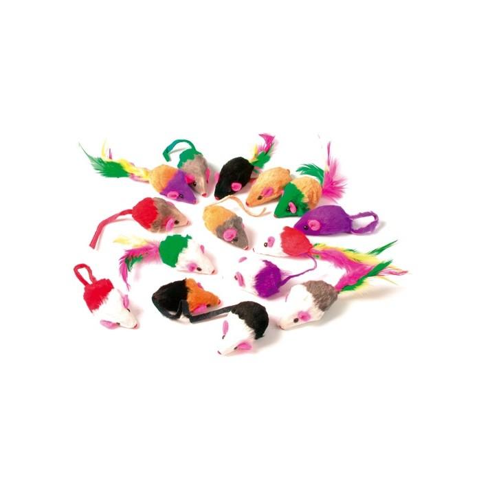 lot de 24 souris multicolores souris pour chat zolux wanimo. Black Bedroom Furniture Sets. Home Design Ideas