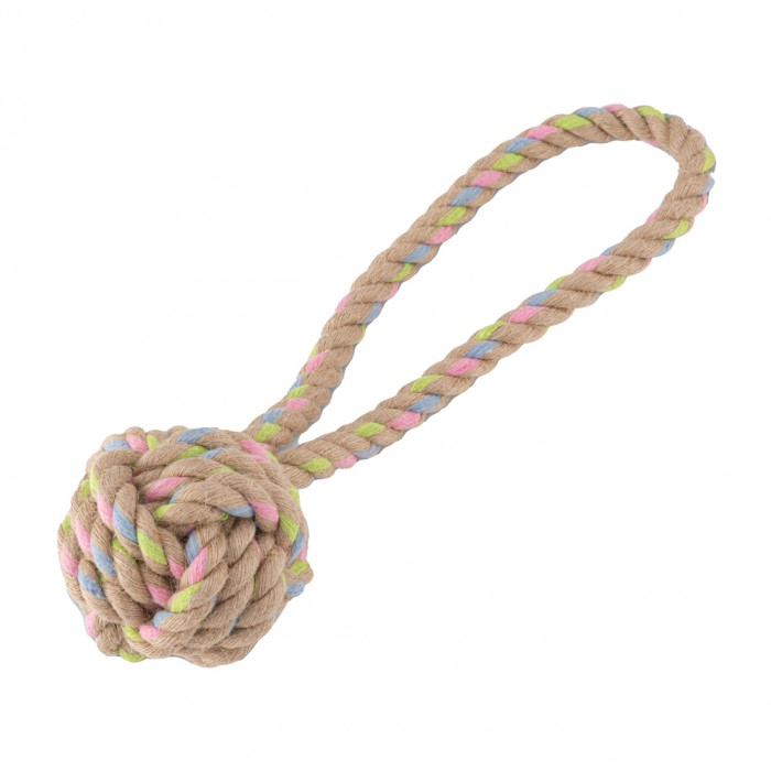 Jouet pour chien - Balle nœud avec boucle - Chanvre & Coton pour chiens