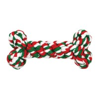 Jouet à mâcher pour chien - Jouet Os de Noël en corde pour chien Happy Pet