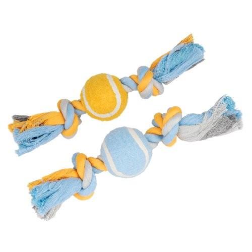 Jouet pour chien - Cordes à noeuds avec balle de tennis pour chiens