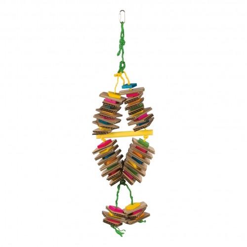 Jouet pour oiseau - Jouet bois en corde de sisal coloré pour oiseaux