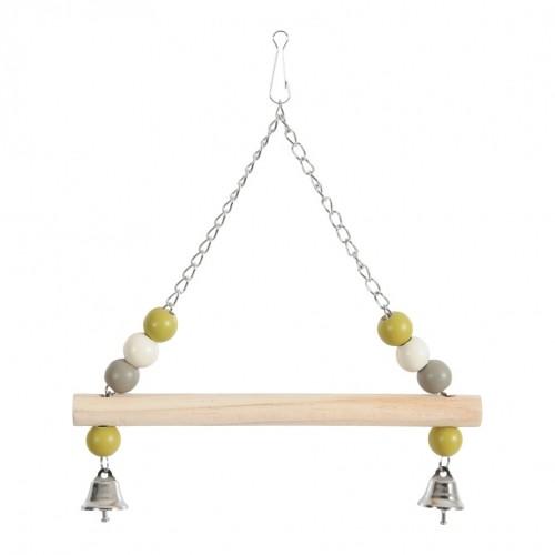 Jouet pour oiseau - Balançoire bois avec chaîne  pour oiseaux