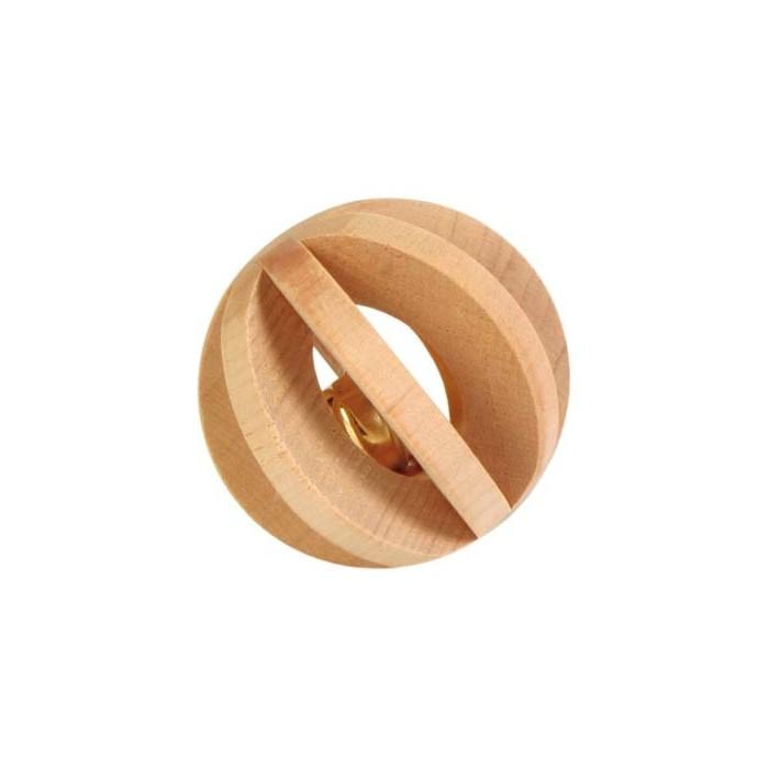 Jouet pour rongeur - Balle en bois avec grelot pour rongeurs