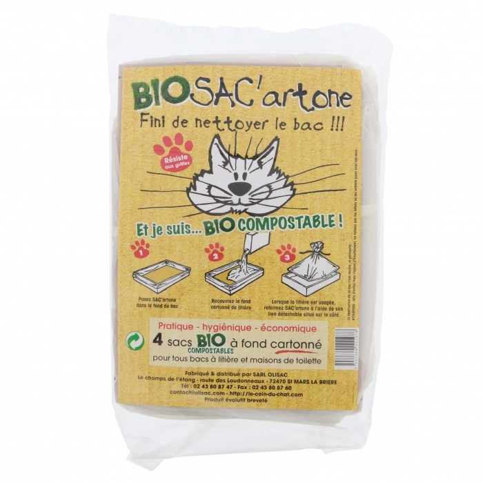 Litière chat, maison de toilette - Sac à litière Bio SAC'artone pour chats