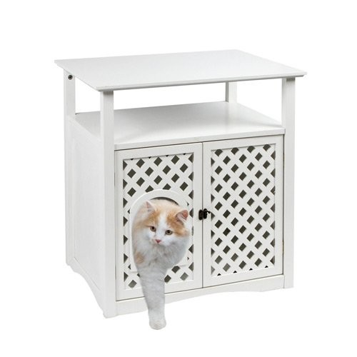 Litière chat, maison de toilette - Meuble pour chat Helena pour chats