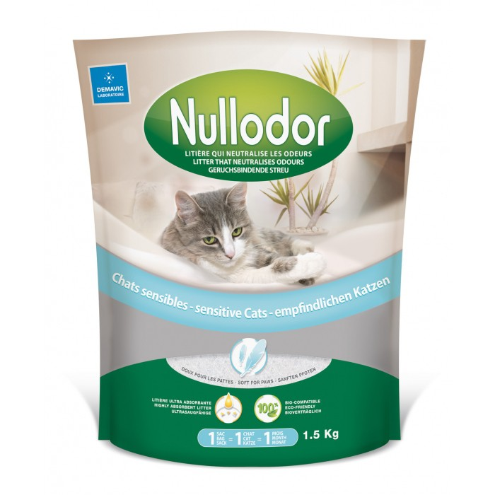 Litière chat, maison de toilette - Litière Nullodor chats sensibles pour chats