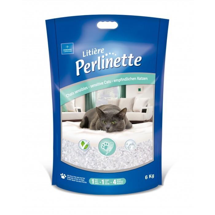 Litière chat, maison de toilette - Litière Perlinette chats sensibles pour chats