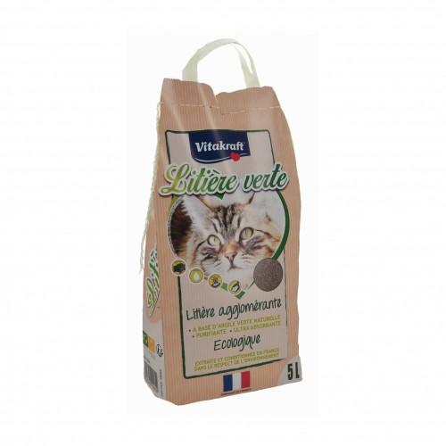 Litière chat, maison de toilette - Litière Verte à l'argile pour chats