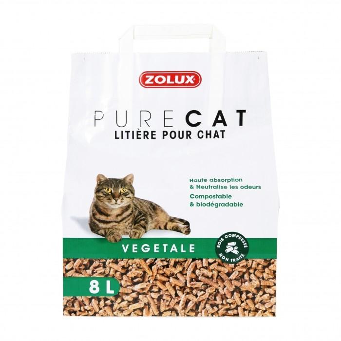 Litière chat, maison de toilette - Litière Pure Cat Végétale pour chats