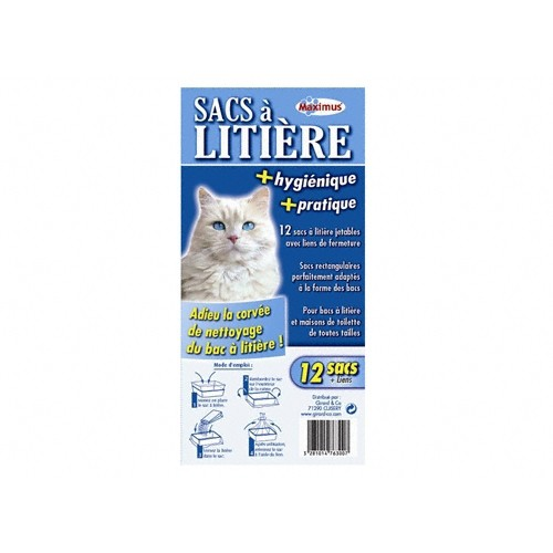 Litière & compagnie - Sacs à litière universels avec liens de fermeture pour chats