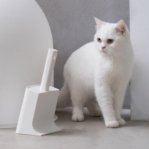 Litière & compagnie - Pelle à litière avec support pour chats