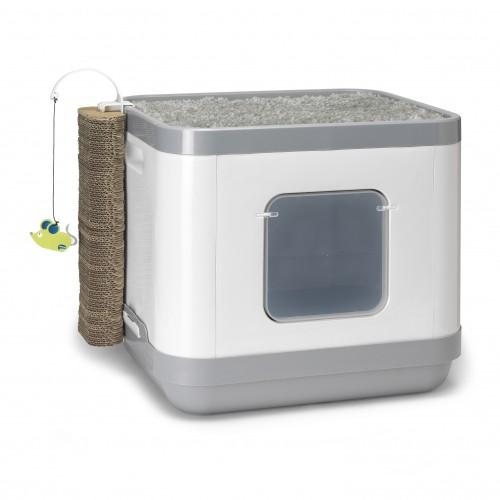 maison de toilette cube 2 en 1 maison de toilette pour chat moderna wanimo. Black Bedroom Furniture Sets. Home Design Ideas