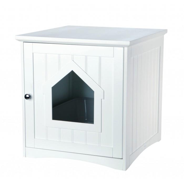 Meuble de toilette maison de toilette niche pour chat for Meuble haut pour toilettes