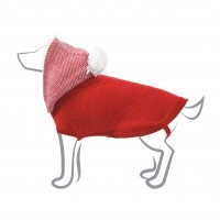 Pull pour chien - Pull Capuche Chiné - Rouge Zolux