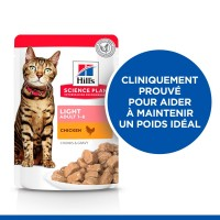Sachet fraîcheur pour chat - HILL'S Science Plan  Adult Light - Lot 12 x 85 g