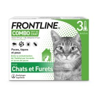 Pipettes anti-puces et tiques - Frontline Combo Chat Merial