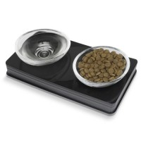 Gamelle double pour chat et petit chien - Gamelle double Glass Diner Cat It