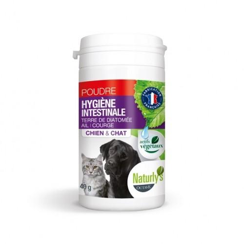 Tiques,  puces & vers - Poudre Hygiène Intestinale ail et courge  pour chats