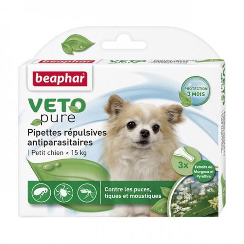 Tiques, puces & vers - Pipettes répulsives antiparasitaires Vetopure pour chiens