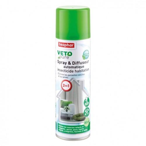 Tiques, puces & vers - Spray et diffuseur 2 en 1 Vetopure pour chiens