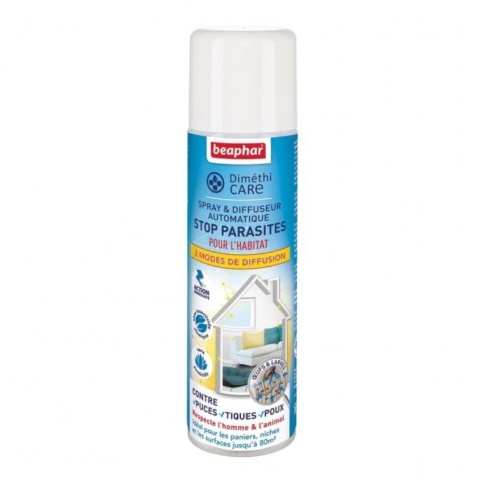 Tiques,  puces & vers - Spray & diffuseur automatique DiméthiCARE Stop Parasites pour chats