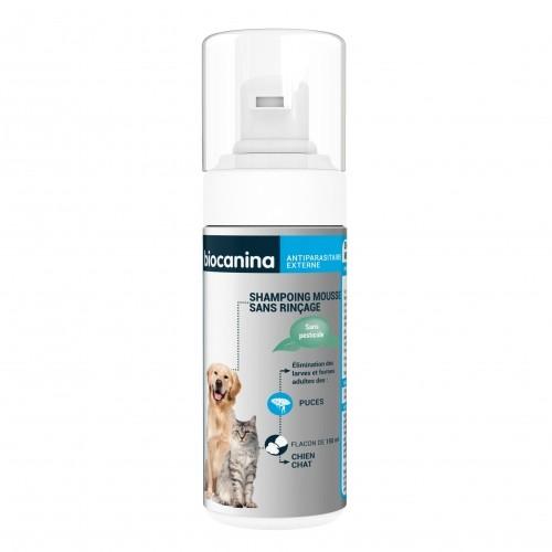Tiques,  puces & vers - Shampoing mousse sans rinçage diméthicone pour chats