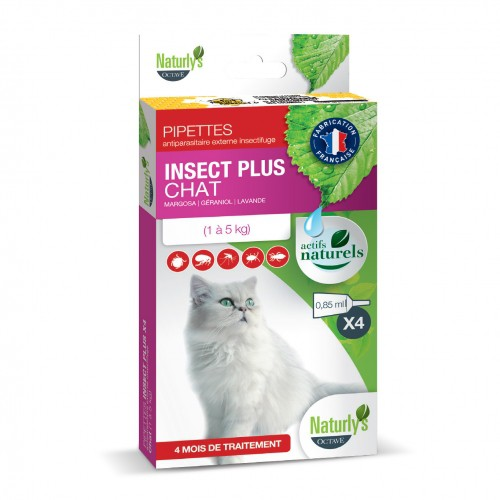 Tiques,  puces & vers - Pipettes Insect Plus Chat pour chats