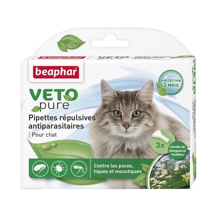Tiques,  puces & vers - Pipettes répulsives antiparasitaires Vetopure pour chats