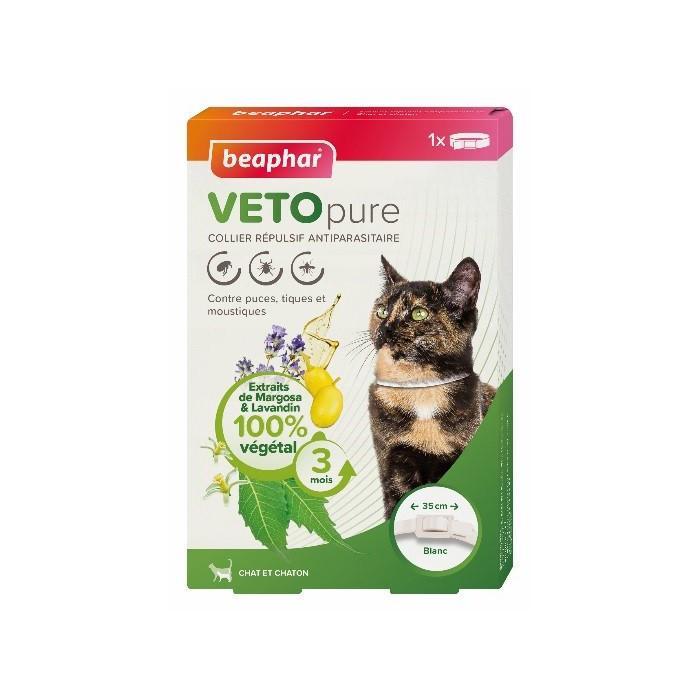 Tiques,  puces & vers - Collier répulsif antiparasitaire Vetopure pour chats