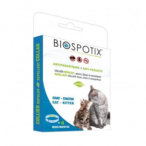 Tiques,  puces & vers - Collier antiparasitaire Biospotix pour chats