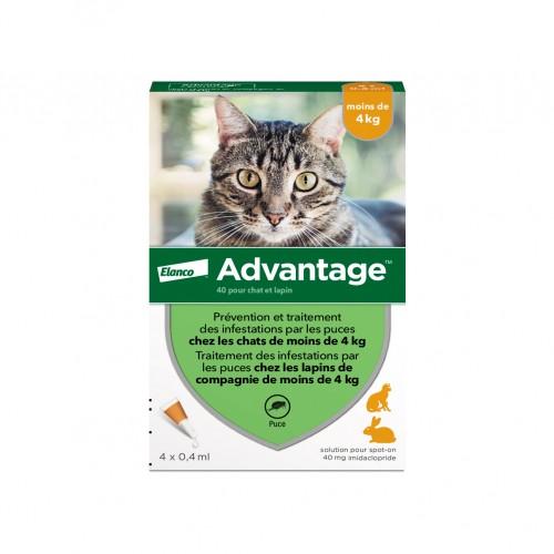 Tiques,  puces & vers - Pipettes Advantage pour chats