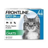 Pipettes anti-puces et tiques pour chat - Frontline Spot-On chat FRONTLINE