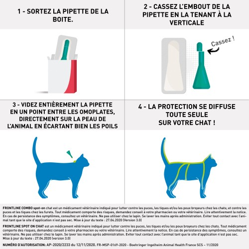 Tiques,  puces & vers - Frontline Spot-On chat pour chats