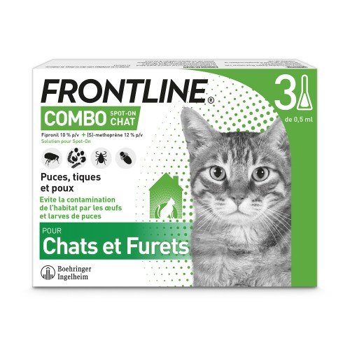Tiques,  puces & vers - Pipettes Frontline Combo Spot On pour chats