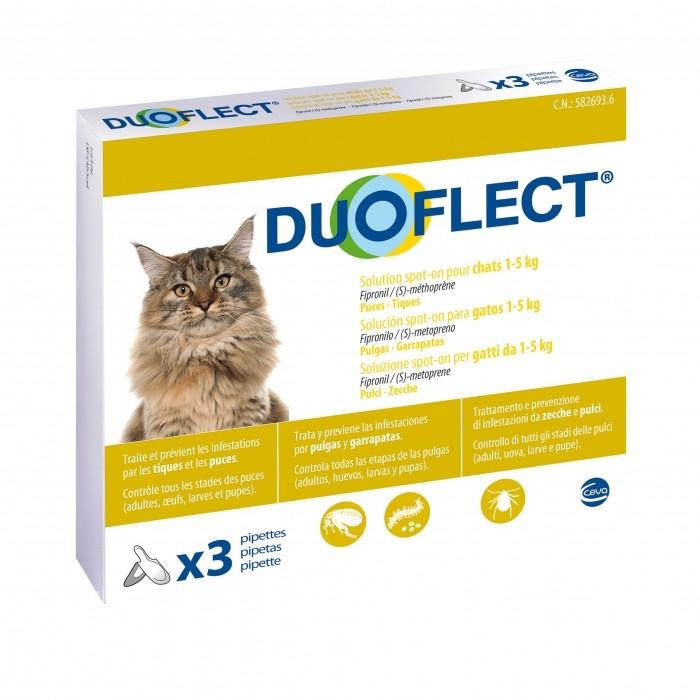 Tiques,  puces & vers - Pipettes Duoflect pour chats