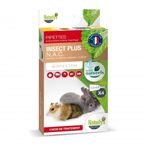 Antiparasitaire pour lapin, cobaye et furet - Pipettes Insect Plus NAC Naturly's